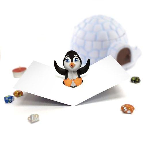 Penguin Card Penguin Birthday Card Birthday Card Pop Up Card