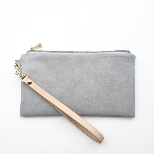 Light gray - Suede carry bag leather belt cosmetic bag phone bag
