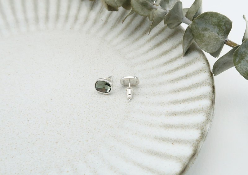 Oval Earrings Eucalyptus Green Sterling Silver