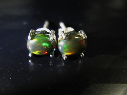 muso: natural opal earrings brown bottom, 925 Torr, Opal ear-rings, Play of Color