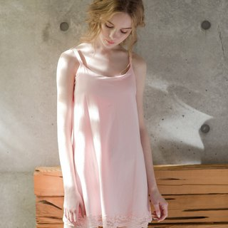 No steel ring pajamas [exclusive 2in1] no elf fairy face lace cotton short dress home service - powder