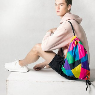 Colorful Patchwork Drawstring Waterproof Backpack