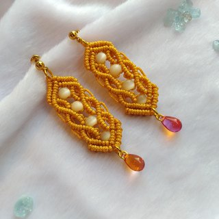E008-Hand-knitted opal long water droplet earrings yellow money defensive