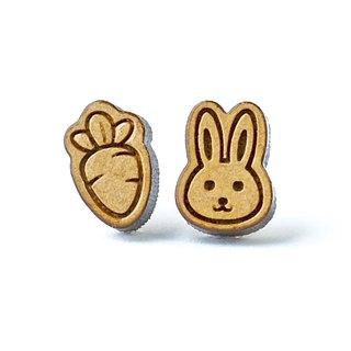 Plain wood earrings-Rabbit & Carrot
