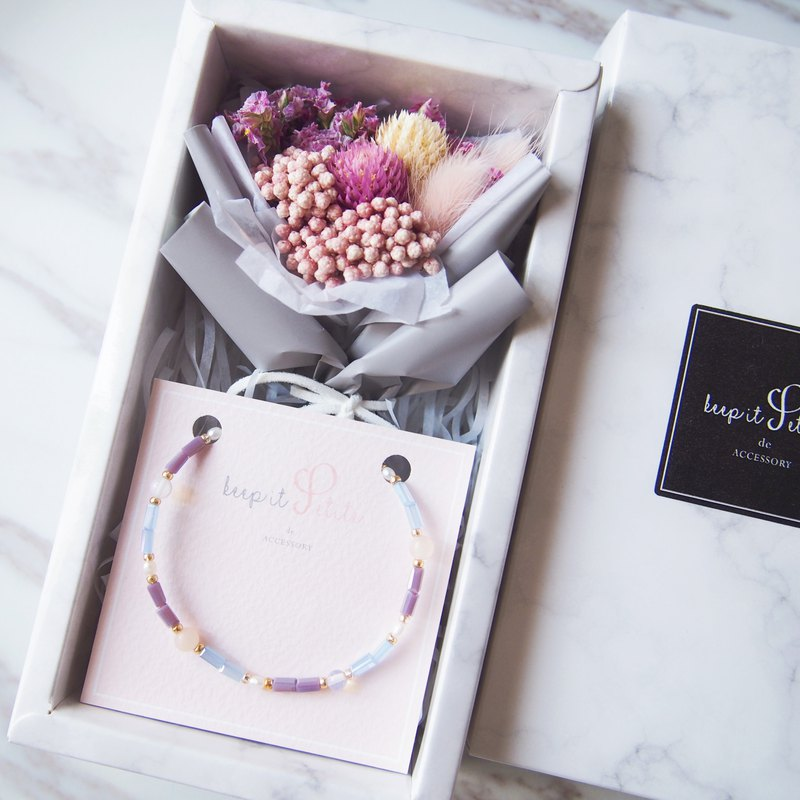 [Cloud stone gift box set] Amaranth bouquet of red rabbits + pearl Morgan stone natural stone bracelet