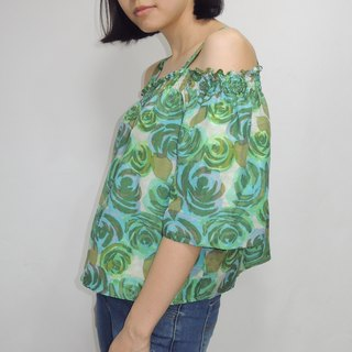 - Chicken Dock - Fallen Watercolor Green Rose Strapless Top