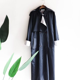 Kawashima - Tokushima black and blue satin light elegant girl antique thin material trench coat coat trench_coat dustcoat jacket coat oversize vintage