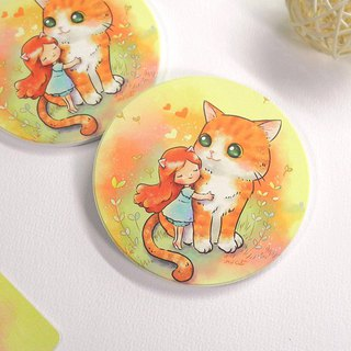 Cat hug ceramic water coaster
