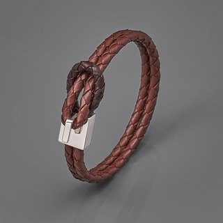 Square buckle woven leather rope bracelet