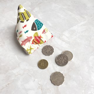 Pyramid flex frame coin purse (-Korean fabrics- Kitchen objects drawing print wi