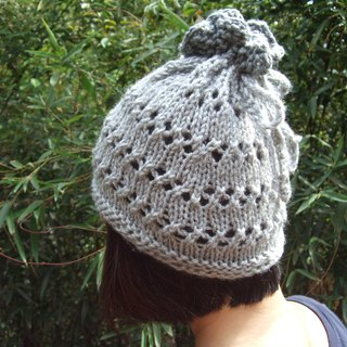 Handmade hand-made wool hat bib - light gray dark gray color
