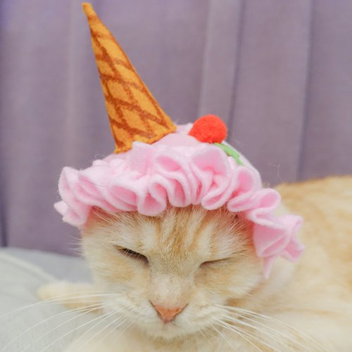 Strawberry ice cream pet cat dog hat cap * S number