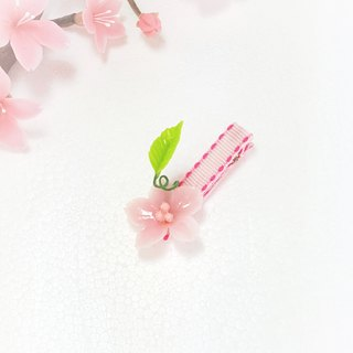 Pink cherry leaves perspective hairpin bangs clip