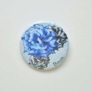 Baum flower can badge 2 coset blue / yellowish green