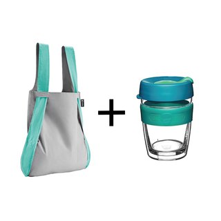 German Notabag Note Bag - Mint Smoked + Australian KeepCup Double Insulated Cup M - Green