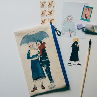 Snow singing canvas pencil bag