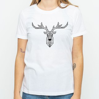 Deer Geometric men and women short-sleeved T-shirt white geometric Deer universe design own brand Milky Way fashion triangle