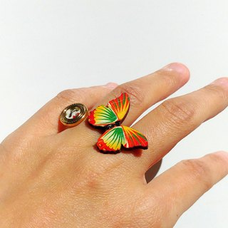 [LineWorkLab] Wood Butterfly Retro Button Open Ring - Tricolor Butterfly
