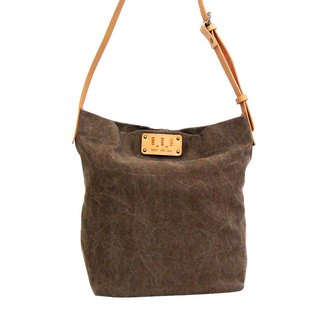 Washed canvas square tube bag / Street Bucket Bag / dark brown / canvas / leather strap