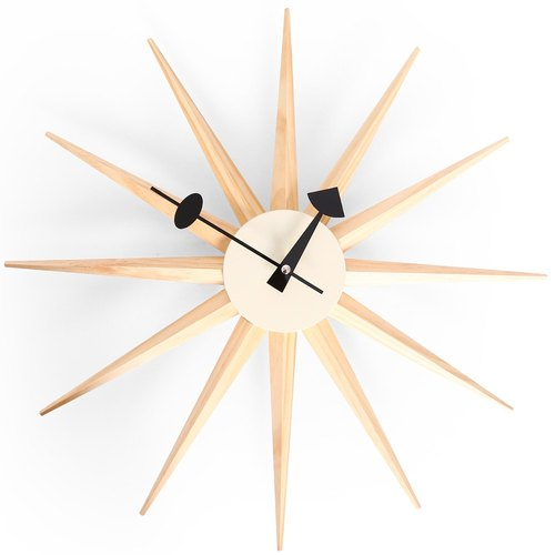 【B19001-003】 a.cerco classic light clock Sunburst Clock wood color