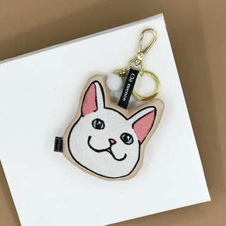 White cat pendant key ring mobile phone screen wipe