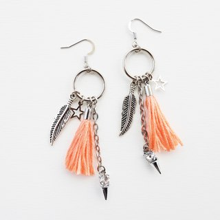 Circle metal earrings with peach tassel and charms