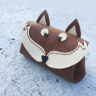 Cute fox key / purse / vegetable tanned leather (Free imprint English)