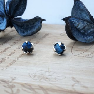 << Blue Planet >> Blue Tiger Eye Earrings 925 Sterling Silver Ear Patch Ear Ear Needles