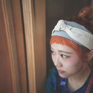 halfway_2way mixed color ribbon headband.off white&grey