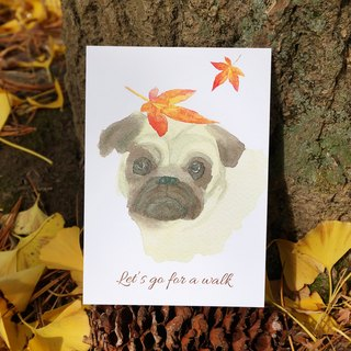 Lovely Animal watercolor postcard, Greeting card, Birthday card - little dog