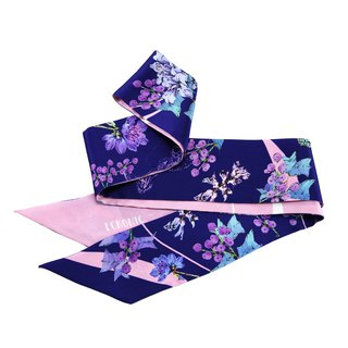 160*8cm purple fossil printed silk thin strip scarf narrow long headwear small scarf Yugang ECRONIC
