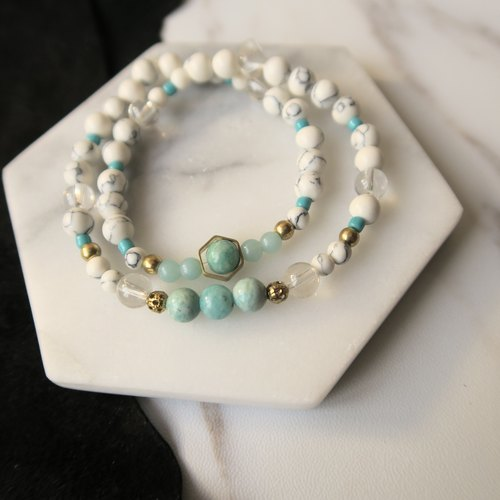 Yunhe [Spiritual • Small hand-made] Tianhe Stone. White Turquoise. White Crystal. Brass. Czech handmade stone. String Zhu. Men and women suitable neutral double ring bracelet