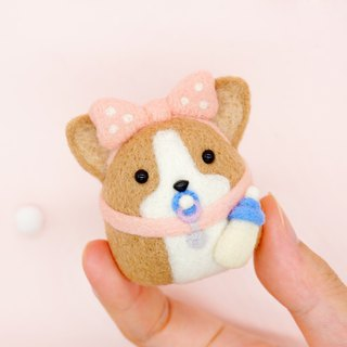 Wool felt pacifier baby Corgi dog home decoration key ring pin car decoration office small gift