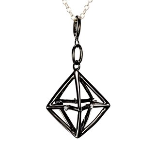 Black Silver Merkaba Necklace, Oxidize Silver Cage Pendant, 3d Star Triangle