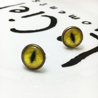 Handmade earrings bronze cat pupil impression 〖〗 bright yellow cat ◙ ◙ another provide improved clip-on