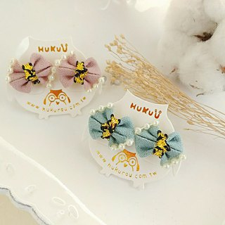 HUKUROU mini bowtie earrings