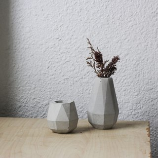 Mini 1+1 combination. Geometric cement / pot / vase / gift box (with dry flowers)