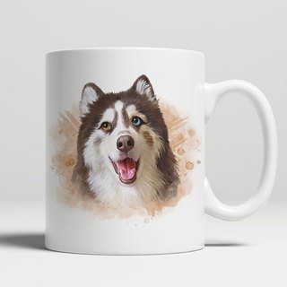 Customized character, pet portrait classic flat mouth mug (watercolor style)