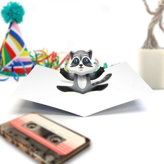 Raccoon Card | Raccoon Birthday Card | Birthday Card | Raccoon Pop Up Card