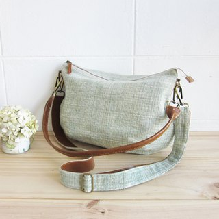Cross-body Sweet Journey Bags M size Botanical Dyed Cotton Green Color