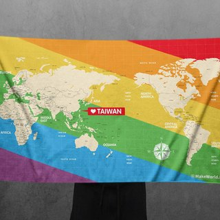 Make World map manufacturing sports bath towel (Rainbow oblique version)