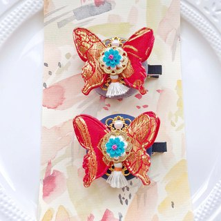 Ancient style step Yao metal embroidery butterfly resin flower tassel buckle child child hairpin