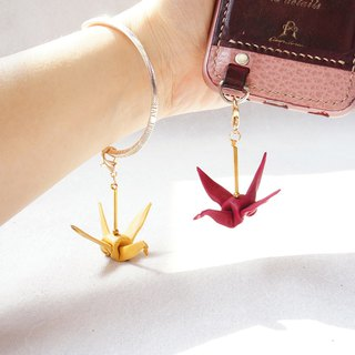 Leather paper crane happiness mobile phone strap (one) - a total of 8 colors