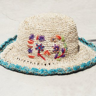 Mother's Day gift limited a hand-woven cotton / hat / hat / fisherman hat / sun hat / straw hat / straw hat - Boho rainbow embroidery flowers forest wind (blue)