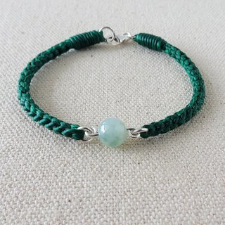 Pure silver flooded ice hibiscus flower floating jade silk wax line bracelet [eight shares in the division] lucky