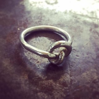 Single rope knot handmade sterling silver ring