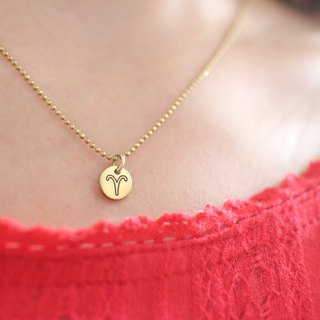 Horoscope sign-brass necklace-Aries