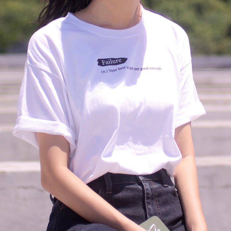 Failure - 中性 oversize 無接縫圓筒白色短 T 恤