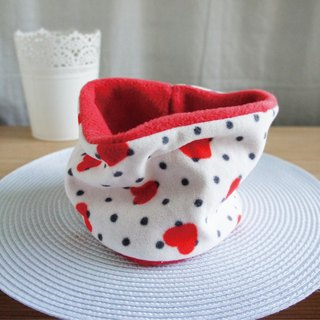 Lovely red sweet double-sided brushed neck with double-sided scarf, red hearts, children's use, winter goods