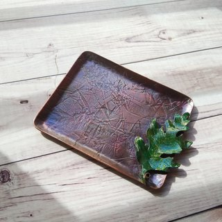 【daily. Handmade red copper wire incense coil. Line incense holder - green leaves